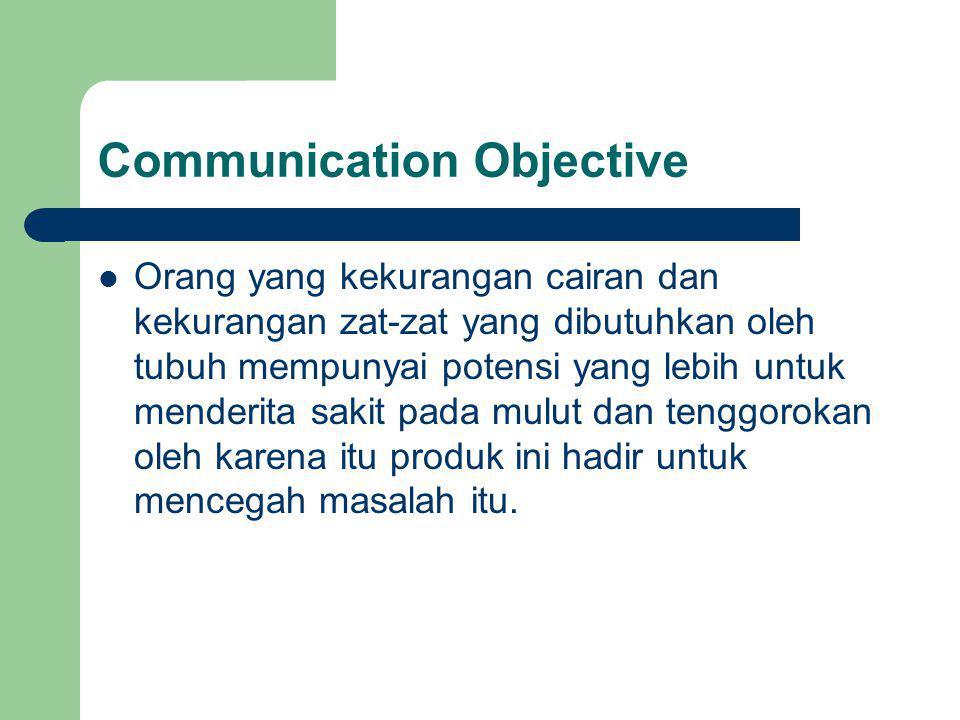 Communication Objective Orang yang kekurangan cairan dan kekurangan zat-zat yang dibutuhkan oleh tubuh mempunyai potensi yang lebih untuk menderita sa