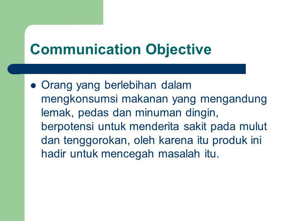 Communication Objective Orang yang berlebihan dalam mengkonsumsi makanan yang mengandung lemak, pedas dan minuman dingin, berpotensi untuk menderita s