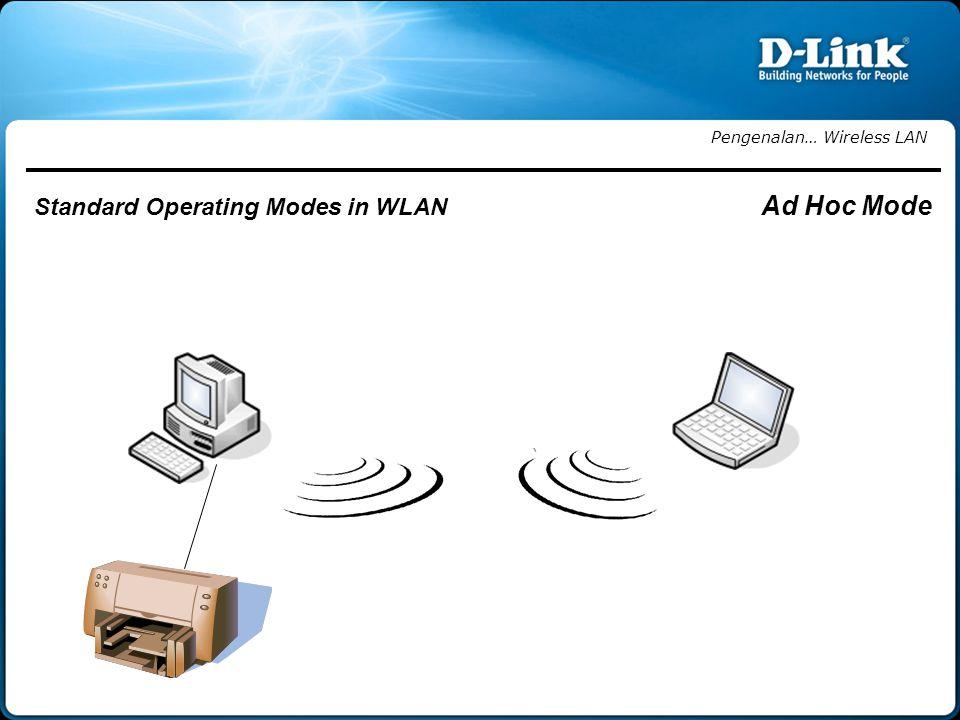 Pengenalan… Wireless LAN Standard Operating Modes in WLAN Ad Hoc Mode