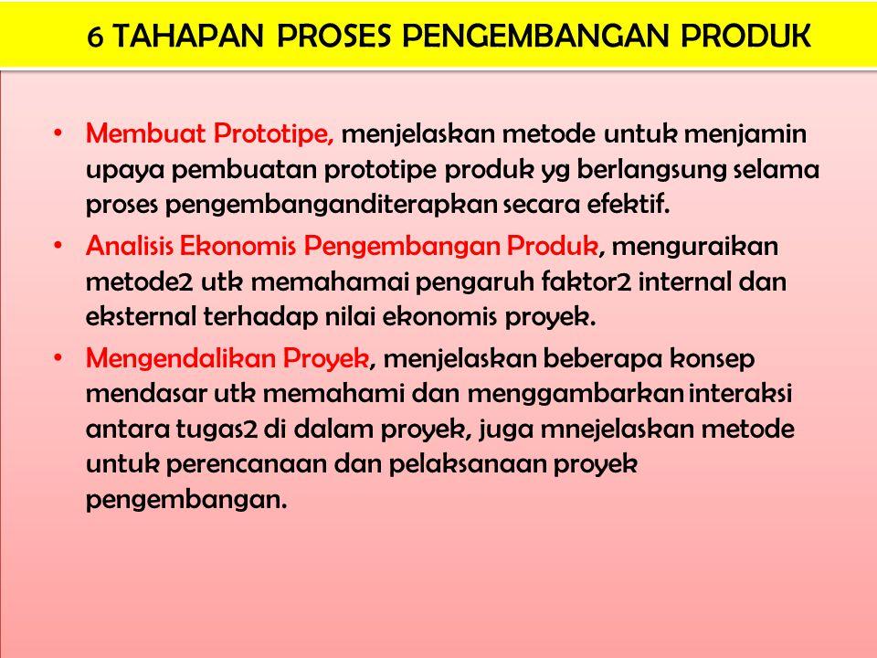 Membuat Prototipe, menjelaskan metode untuk menjamin upaya pembuatan prototipe produk yg berlangsung selama proses pengembanganditerapkan secara efekt