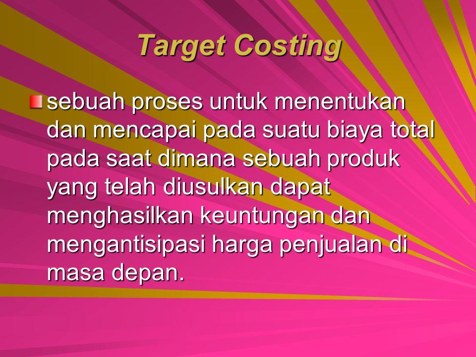 MENURUNKAN BIAYA PRODUKSI Usaha untuk mengurangi biaya produksi dapat menggunakan pendekatan target costing dan kaizen costing.
