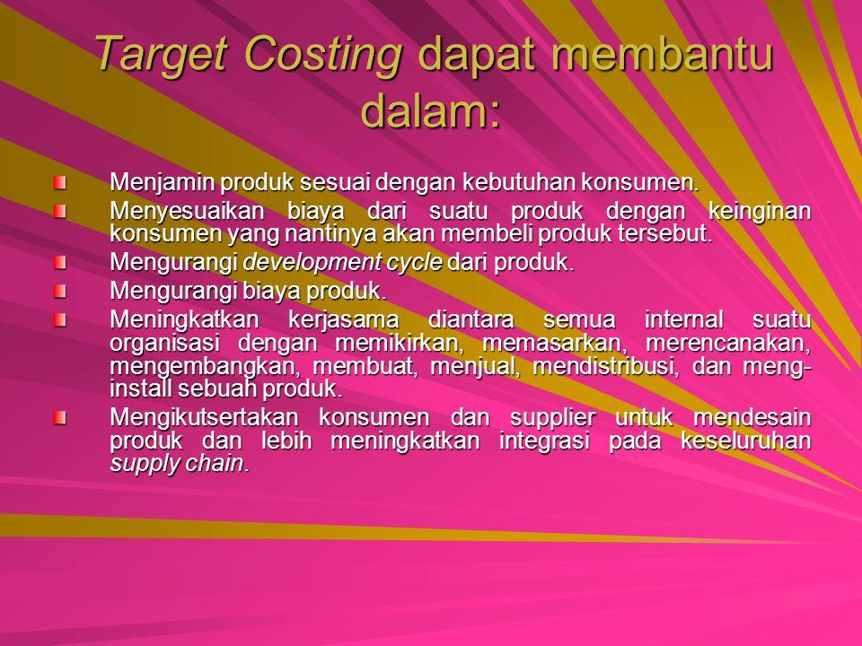 Target Costing sebuah proses untuk menentukan dan mencapai pada suatu biaya total pada saat dimana sebuah produk yang telah diusulkan dapat menghasilk
