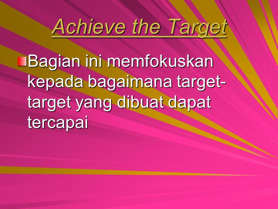 Set the Target Bagian ini membahas tentang target- target yang akan dicapai pada saat produk yang akan diproduksi dijual ke pasar. Bagian ini menganal