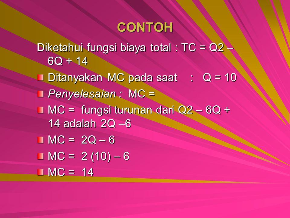 CONTOH Diketahui fungsi biaya total : TC = Q2 – 6Q + 14 Ditanyakan MC pada saat : Q = 10 Penyelesaian : MC = MC = fungsi turunan dari Q2 – 6Q + 14 adalah 2Q –6 MC = 2Q – 6 MC = 2 (10) – 6 MC = 14