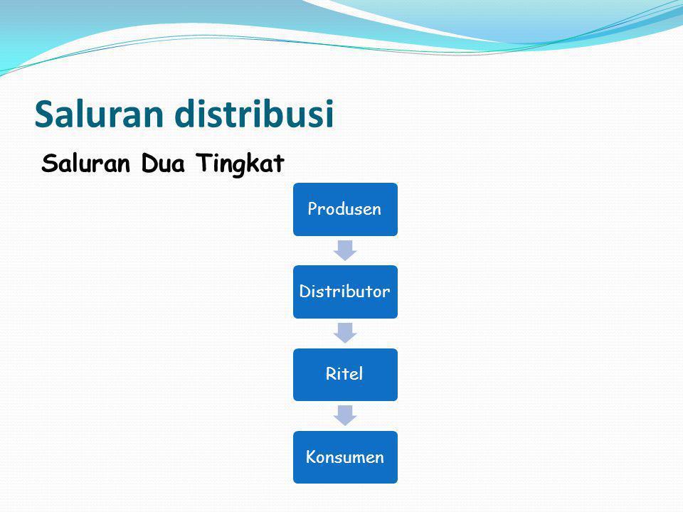 Saluran distribusi Saluran Dua Tingkat ProdusenDistributorRitelKonsumen
