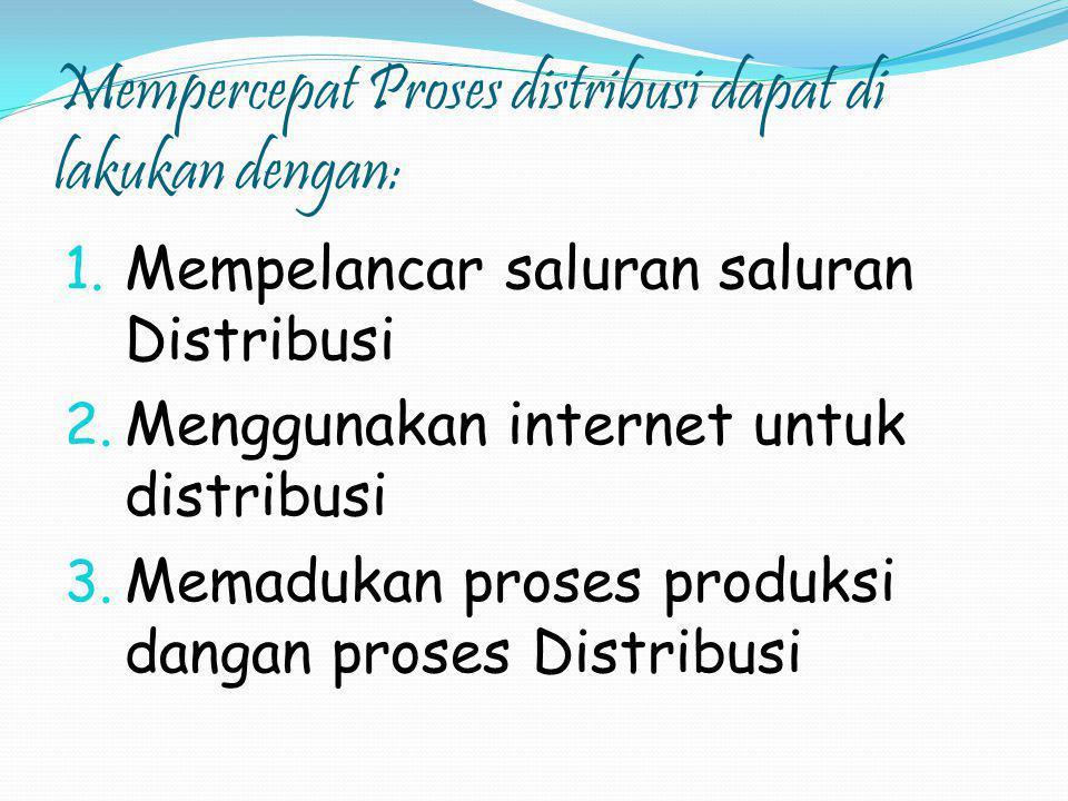 Mempercepat Proses distribusi dapat di lakukan dengan: 1. Mempelancar saluran saluran Distribusi 2. Menggunakan internet untuk distribusi 3. Memadukan
