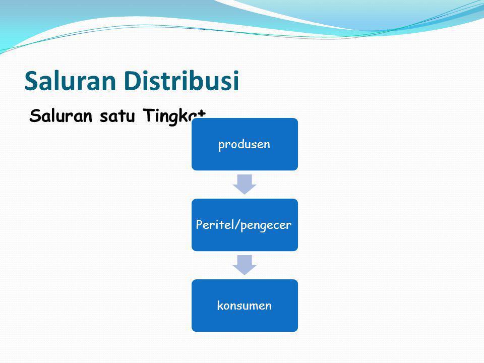 Saluran 2 tingkat Dimana terdapat dua perantara pemasaran di antara produsen dan konsumen yaitu distributor dan peritel