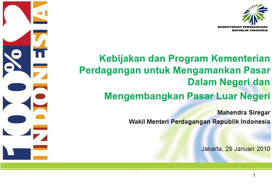 1 Mahendra Siregar Wakil Menteri Perdagangan Republik Indonesia Jakarta, 29 Januari 2010 Kebijakan dan Program Kementerian Perdagangan untuk Mengamankan Pasar Dalam Negeri dan Mengembangkan Pasar Luar Negeri