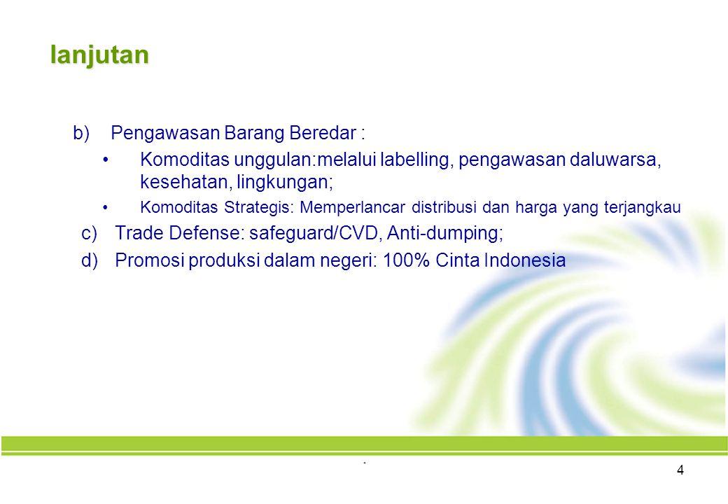 lanjutan b)Pengawasan Barang Beredar : Komoditas unggulan:melalui labelling, pengawasan daluwarsa, kesehatan, lingkungan; Komoditas Strategis: Memperlancar distribusi dan harga yang terjangkau c)Trade Defense: safeguard/CVD, Anti-dumping; d)Promosi produksi dalam negeri: 100% Cinta Indonesia 4