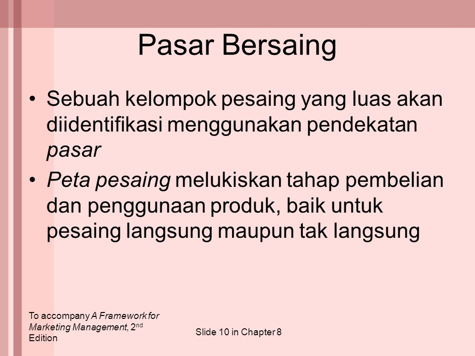 To accompany A Framework for Marketing Management, 2 nd Edition Slide 10 in Chapter 8 Pasar Bersaing Sebuah kelompok pesaing yang luas akan diidentifi