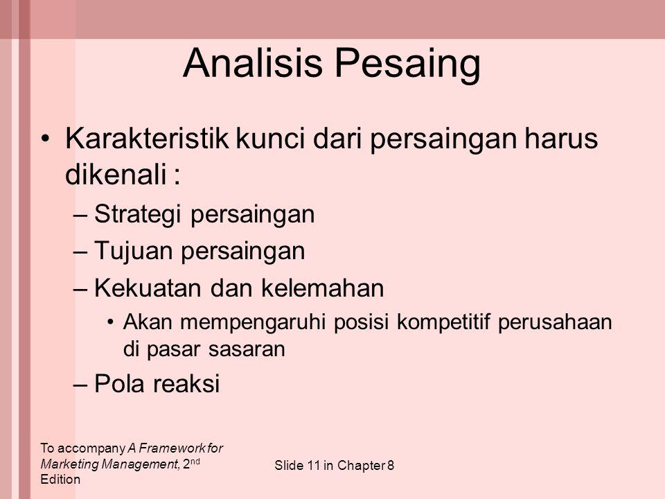 To accompany A Framework for Marketing Management, 2 nd Edition Slide 11 in Chapter 8 Analisis Pesaing Karakteristik kunci dari persaingan harus diken
