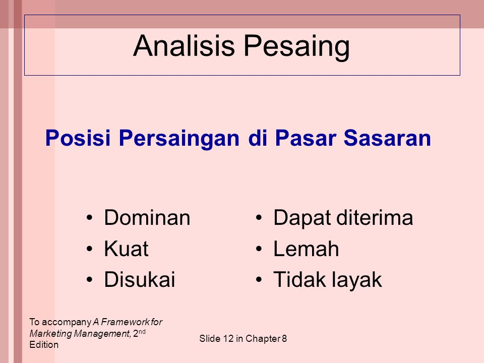 To accompany A Framework for Marketing Management, 2 nd Edition Slide 12 in Chapter 8 Analisis Pesaing Dominan Kuat Disukai Dapat diterima Lemah Tidak