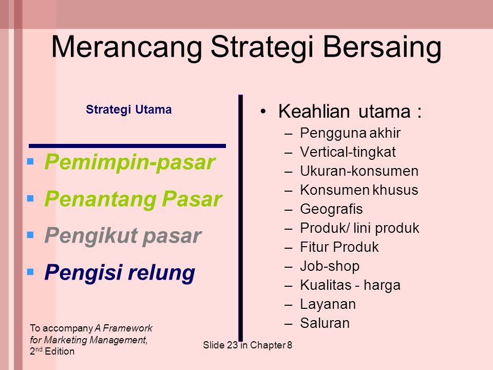 To accompany A Framework for Marketing Management, 2 nd Edition Slide 23 in Chapter 8 Strategi Utama  Pemimpin-pasar  Penantang Pasar  Pengikut pas