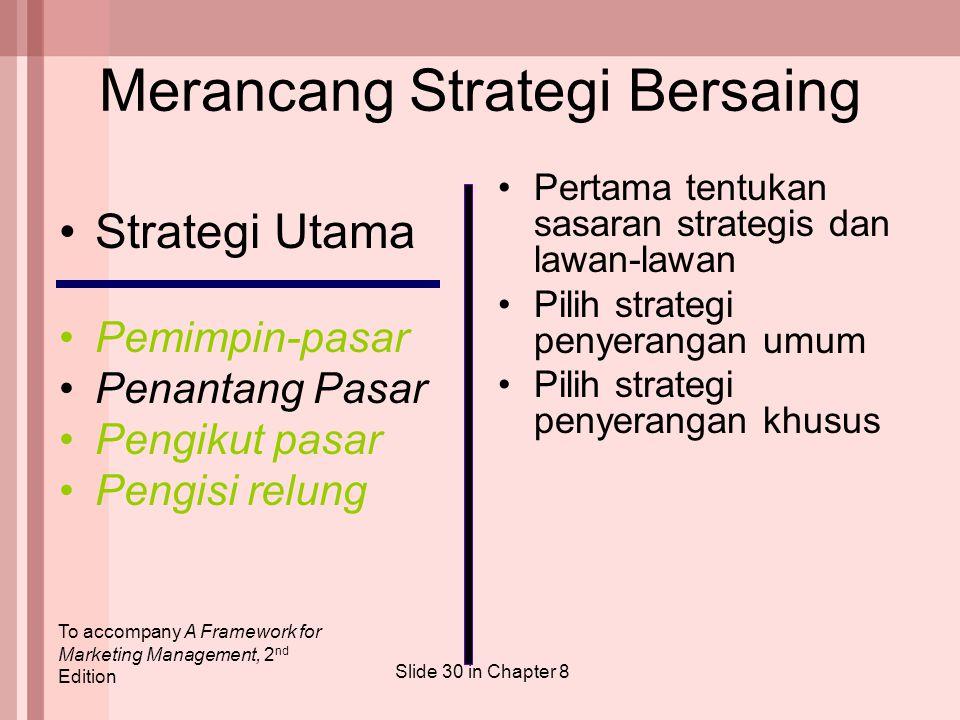 To accompany A Framework for Marketing Management, 2 nd Edition Slide 30 in Chapter 8 Merancang Strategi Bersaing Pertama tentukan sasaran strategis d