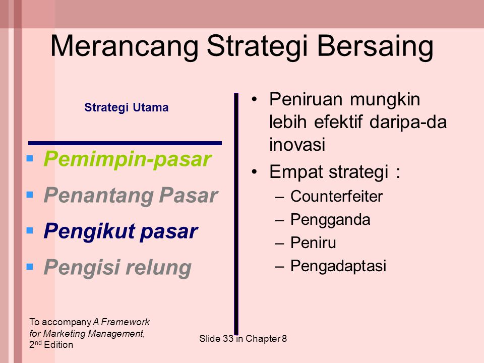 To accompany A Framework for Marketing Management, 2 nd Edition Slide 33 in Chapter 8 Strategi Utama  Pemimpin-pasar  Penantang Pasar  Pengikut pas