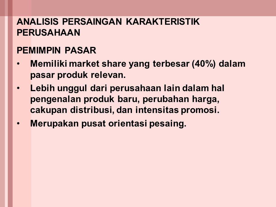 ANALISIS PERSAINGAN KARAKTERISTIK PERUSAHAAN PEMIMPIN PASAR Memiliki market share yang terbesar (40%) dalam pasar produk relevan. Lebih unggul dari pe