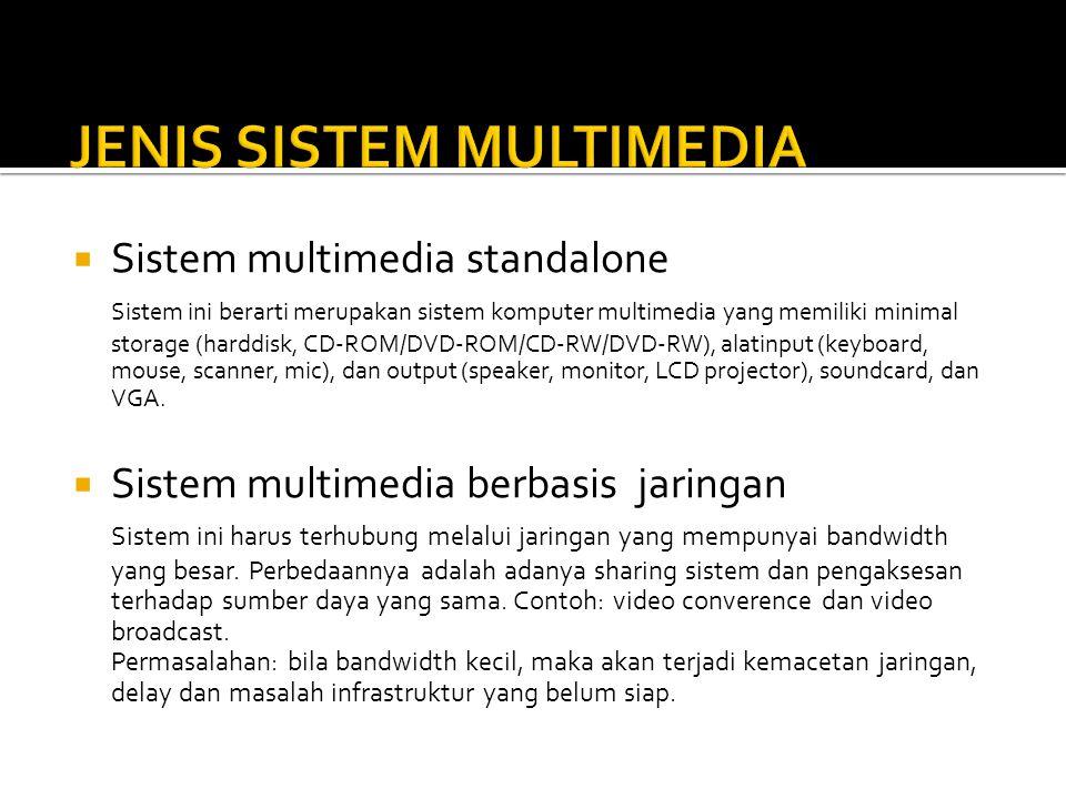  Sistem multimedia standalone Sistem ini berarti merupakan sistem komputer multimedia yang memiliki minimal storage (harddisk, CD-ROM/DVD-ROM/CD-RW/D