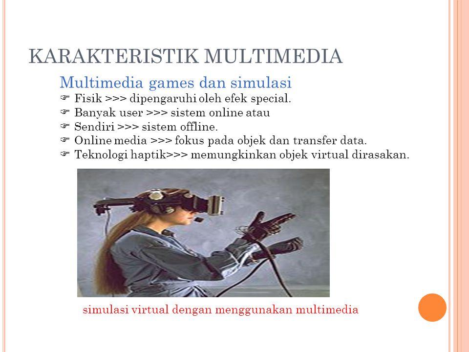 Multimedia games dan simulasi  Fisik >>> dipengaruhi oleh efek special.  Banyak user >>> sistem online atau  Sendiri >>> sistem offline.  Online m
