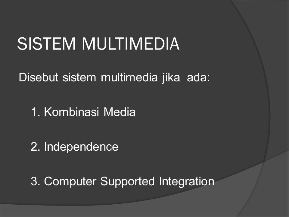 SISTEM MULTIMEDIA Disebut sistem multimedia jika ada: 1. Kombinasi Media 2. Independence 3. Computer Supported Integration