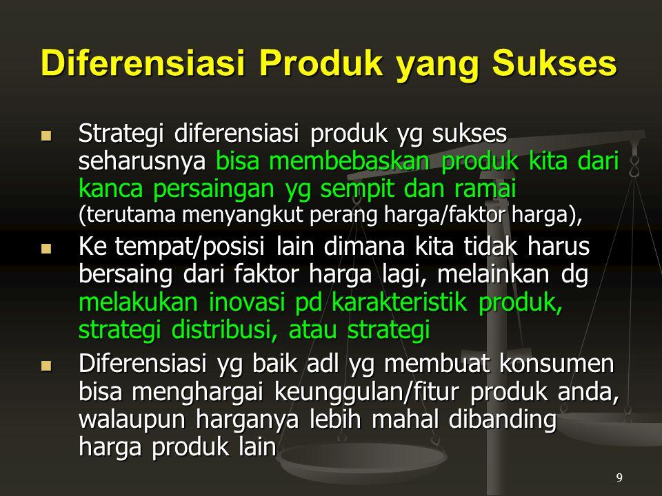 10 Keuntungan Strategi Diferensiasi Produk 1.Produk lebih mudah diingat para konsumen 2.