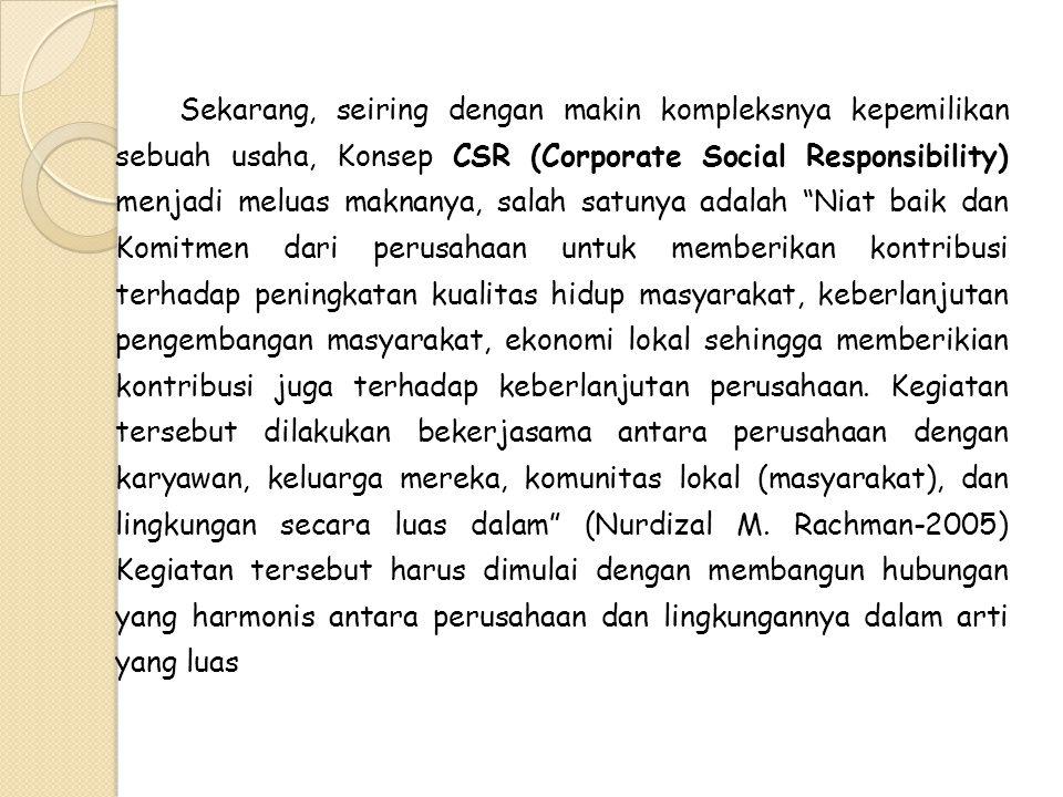 Sekarang, seiring dengan makin kompleksnya kepemilikan sebuah usaha, Konsep CSR (Corporate Social Responsibility) menjadi meluas maknanya, salah satun