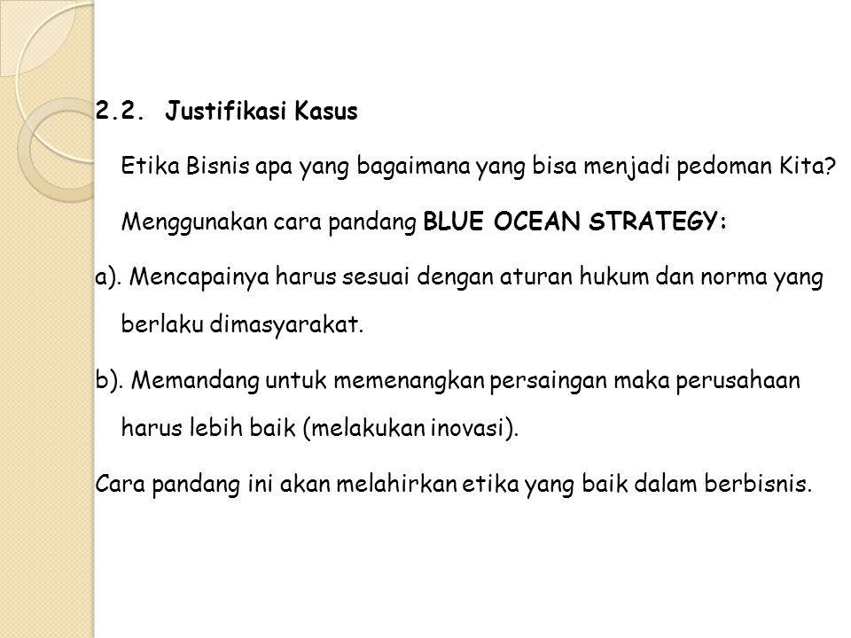 2.2. Justifikasi Kasus Etika Bisnis apa yang bagaimana yang bisa menjadi pedoman Kita? Menggunakan cara pandang BLUE OCEAN STRATEGY: a). Mencapainya h