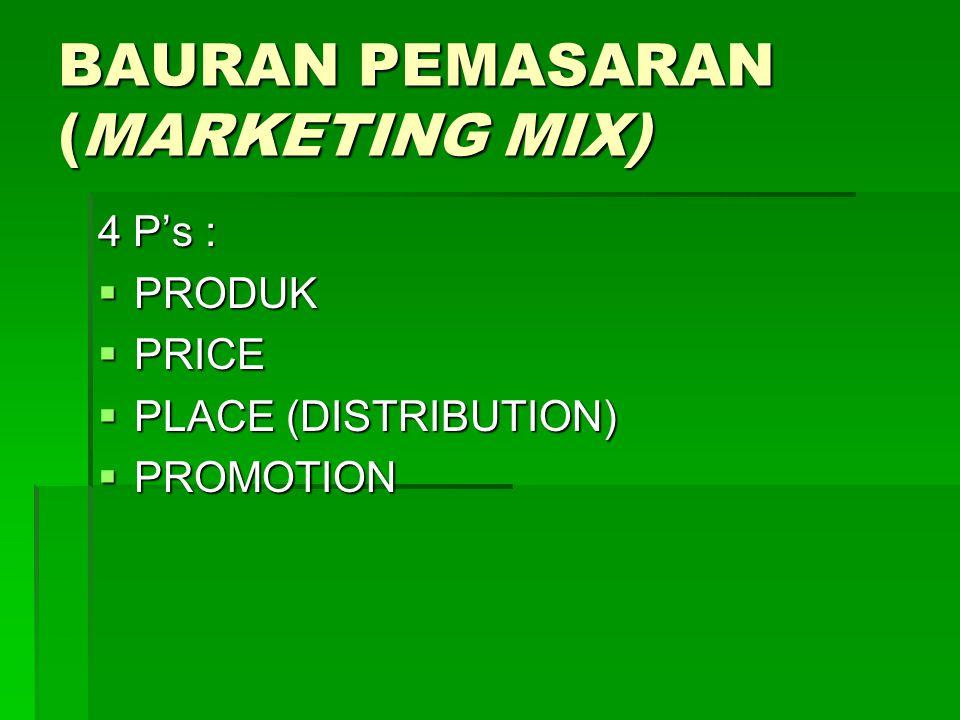 BAURAN PEMASARAN (MARKETING MIX) 4 P's :  PRODUK  PRICE  PLACE (DISTRIBUTION)  PROMOTION