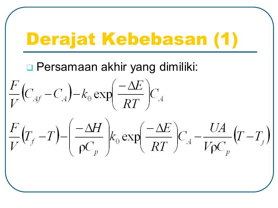 Derajat Kebebasan (1)  Persamaan akhir yang dimiliki: