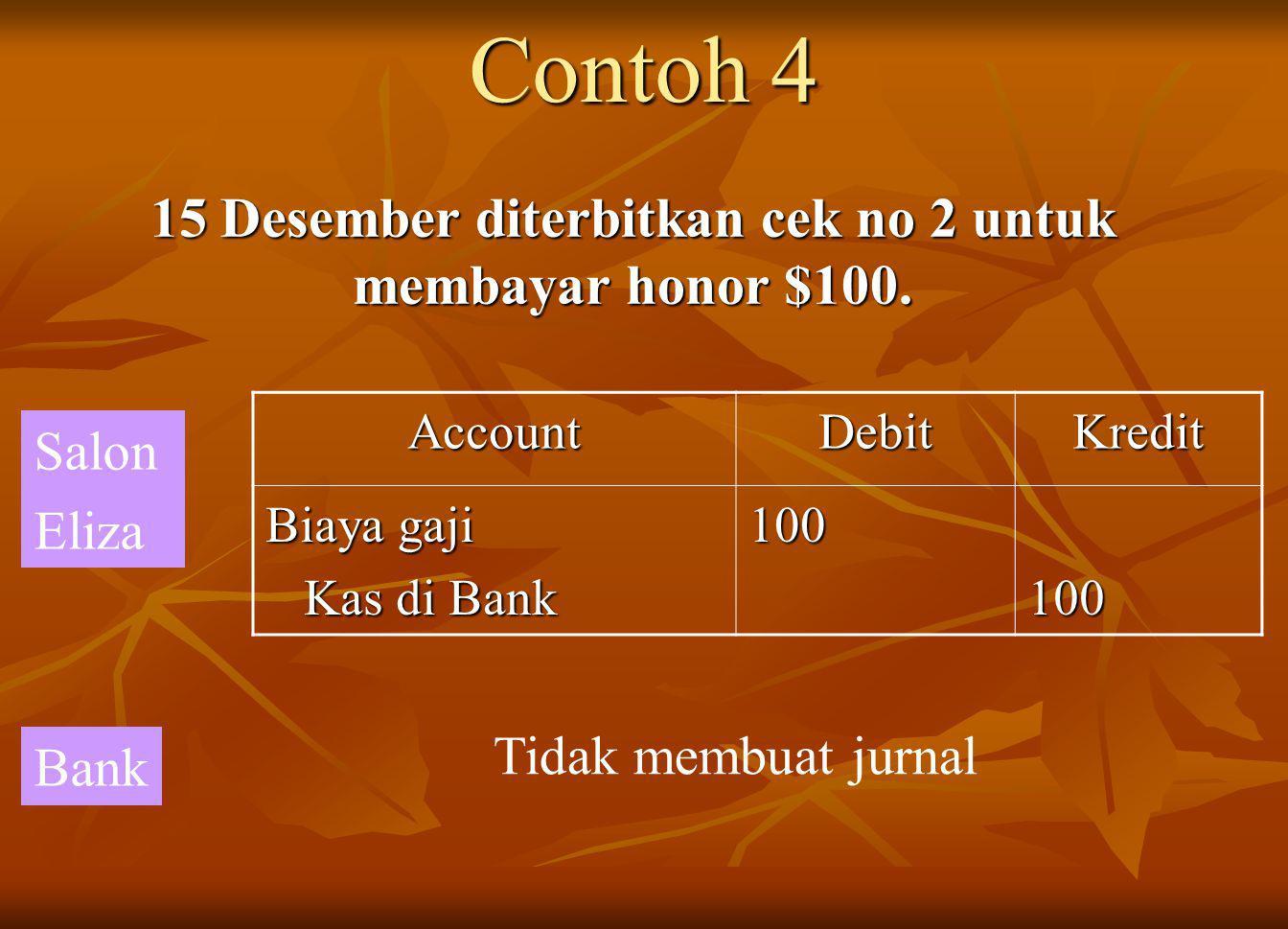 Contoh 4 15 Desember diterbitkan cek no 2 untuk membayar honor $100.