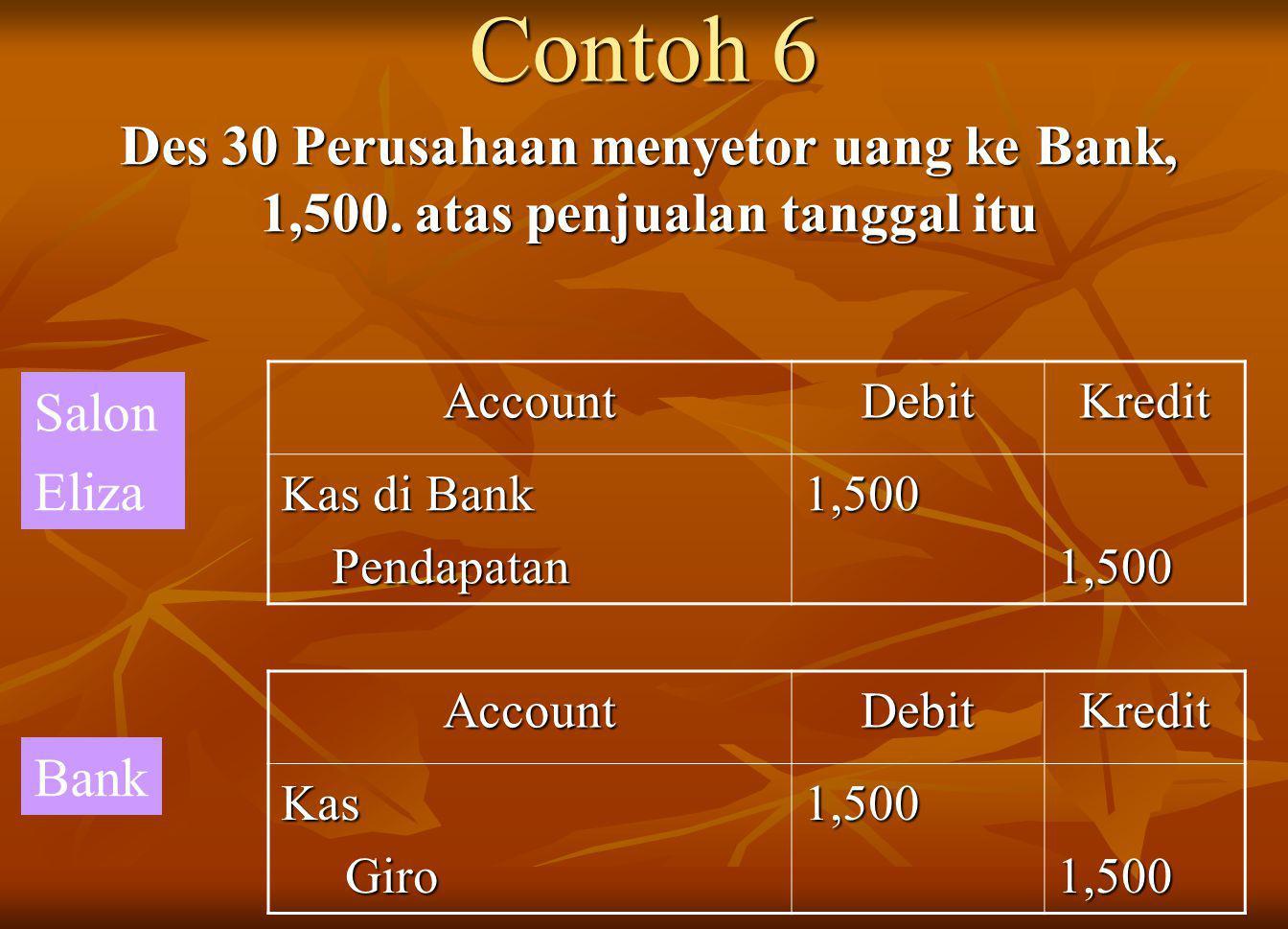 Contoh 6 Des 30 Perusahaan menyetor uang ke Bank, 1,500.