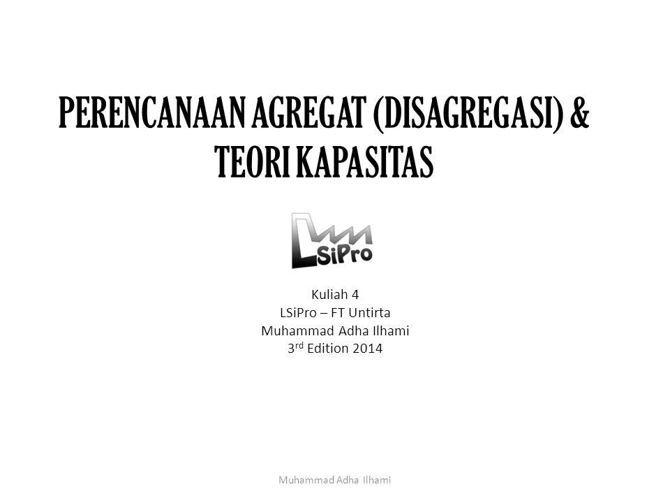 PERENCANAAN AGREGAT (DISAGREGASI) & TEORI KAPASITAS Kuliah 4 LSiPro – FT Untirta Muhammad Adha Ilhami 3 rd Edition 2014 Muhammad Adha Ilhami