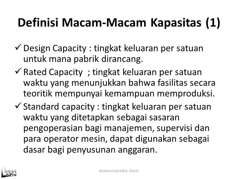 Definisi Macam-Macam Kapasitas (1) Design Capacity : tingkat keluaran per satuan untuk mana pabrik dirancang. Rated Capacity ; tingkat keluaran per sa