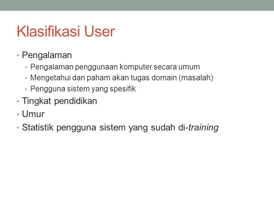 Klasifikasi User Pengalaman Pengalaman penggunaan komputer secara umum Mengetahui dan paham akan tugas domain (masalah) Pengguna sistem yang spesifik Tingkat pendidikan Umur Statistik pengguna sistem yang sudah di-training