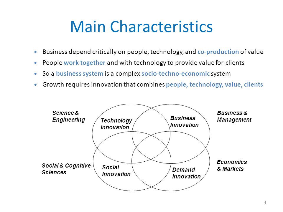 Main Characteristics 4 Business depend critically on people, technology, and co-production of value People work together and with technology to provid
