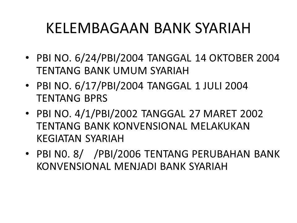 KELEMBAGAAN BANK SYARIAH PBI NO. 6/24/PBI/2004 TANGGAL 14 OKTOBER 2004 TENTANG BANK UMUM SYARIAH PBI NO. 6/17/PBI/2004 TANGGAL 1 JULI 2004 TENTANG BPR