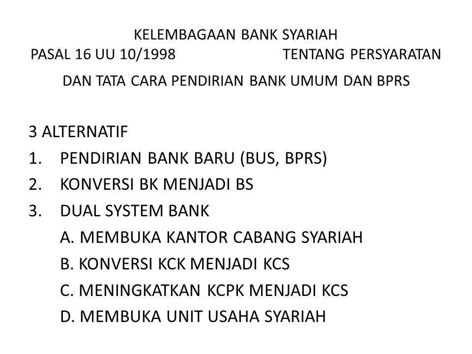 KELEMBAGAAN BANK SYARIAH PASAL 16 UU 10/1998 TENTANG PERSYARATAN DAN TATA CARA PENDIRIAN BANK UMUM DAN BPRS 3 ALTERNATIF 1.PENDIRIAN BANK BARU (BUS, B