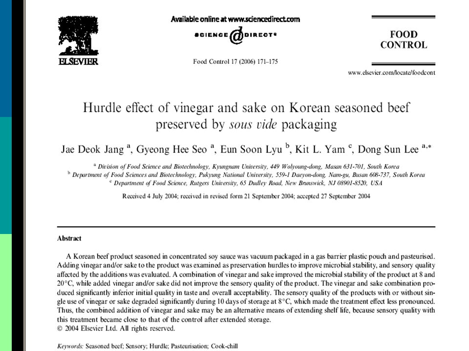Pengaruh vinegar dan sake terhadap Korean seasoned beef yang dikemas dengan sous vide  Pendahuluan Pendahuluan  Latar Belakang Penelitian Latar Belakang Penelitian  Tujuan Penelitian Tujuan Penelitian  Metodologi Penelitian Metodologi Penelitian  Hasil Penelitian Hasil Penelitian  Kesimpulan Penelitian Kesimpulan Penelitian