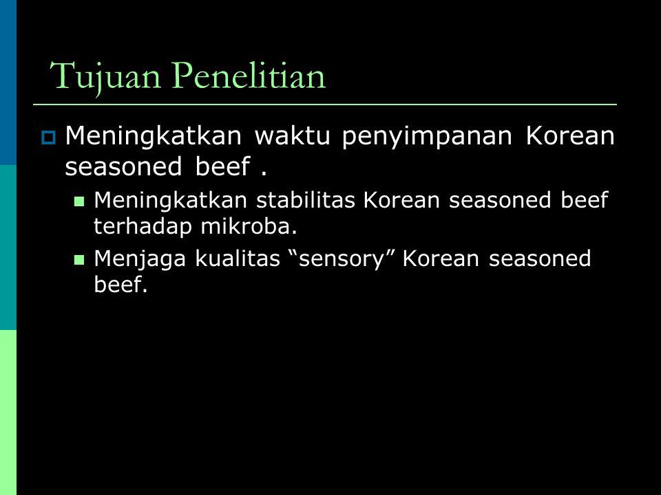Metodologi Penelitian daging Diolah, diberi variasi perlakuan tertentu dikemas disimpan dianalisis Korean seasoned beef