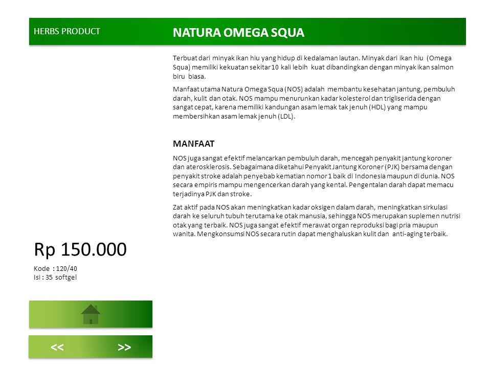 HERBS PRODUCT NATURA OMEGA SQUA Terbuat dari minyak ikan hiu yang hidup di kedalaman lautan. Minyak dari ikan hiu (Omega Squa) memiliki kekuatan sekit