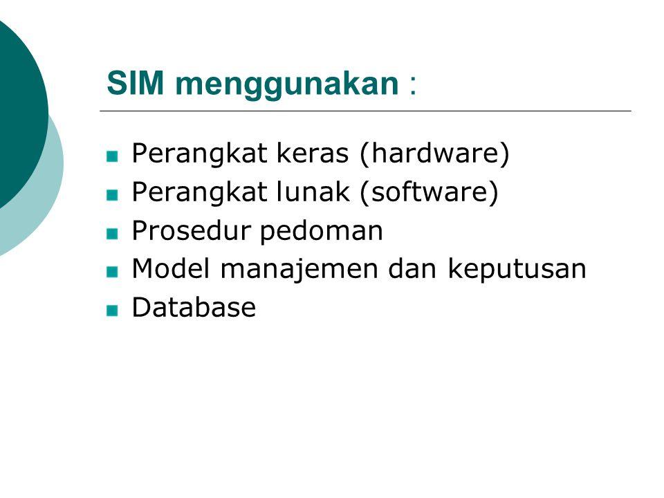 SIM menggunakan : Perangkat keras (hardware) Perangkat lunak (software) Prosedur pedoman Model manajemen dan keputusan Database