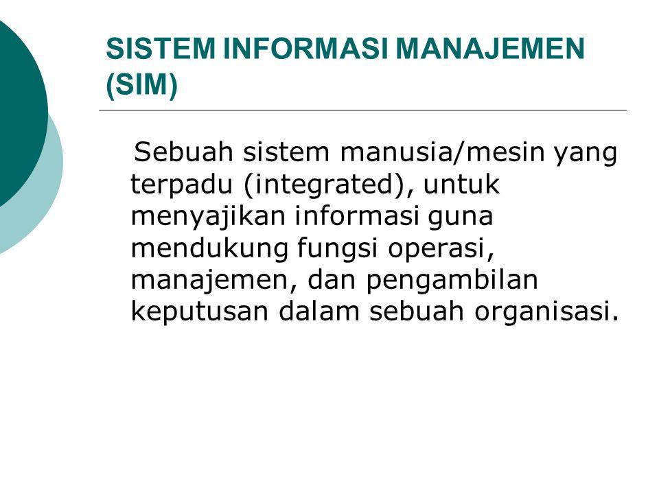 SISTEM INFORMASI MANAJEMEN (SIM) Sebuah sistem manusia/mesin yang terpadu (integrated), untuk menyajikan informasi guna mendukung fungsi operasi, mana