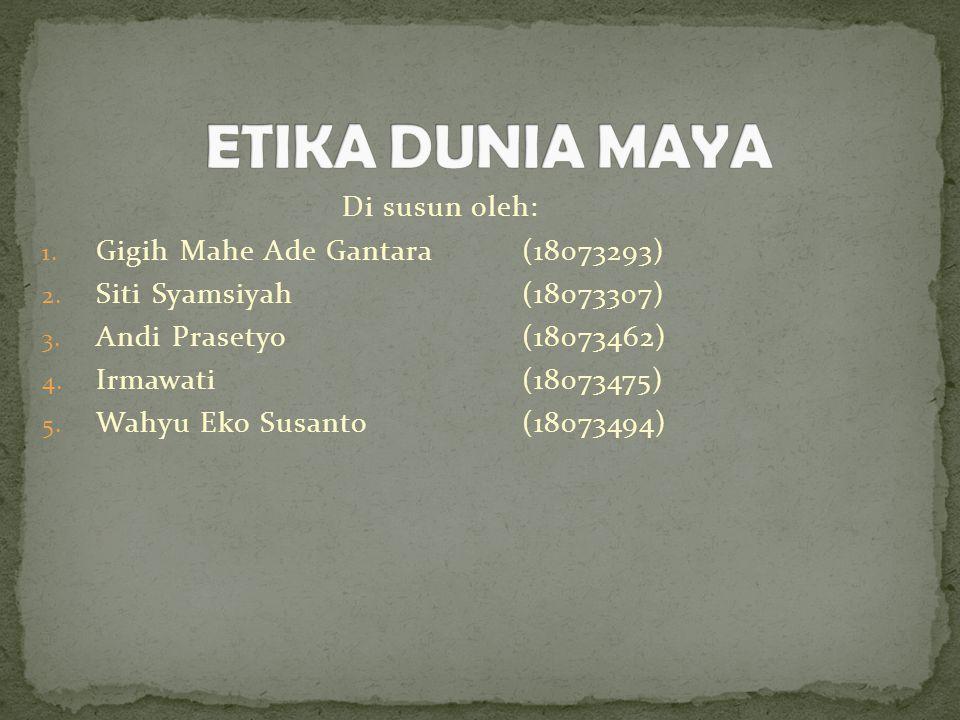 Di susun oleh: 1. Gigih Mahe Ade Gantara(18073293) 2. Siti Syamsiyah(18073307) 3. Andi Prasetyo(18073462) 4. Irmawati(18073475) 5. Wahyu Eko Susanto(1