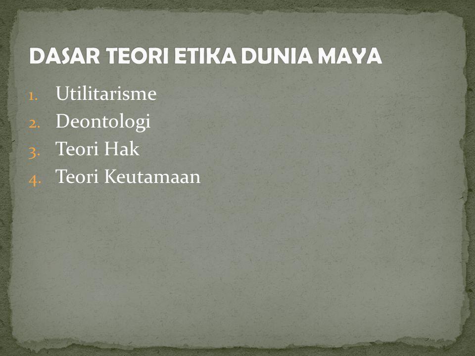 1. Utilitarisme 2. Deontologi 3. Teori Hak 4. Teori Keutamaan