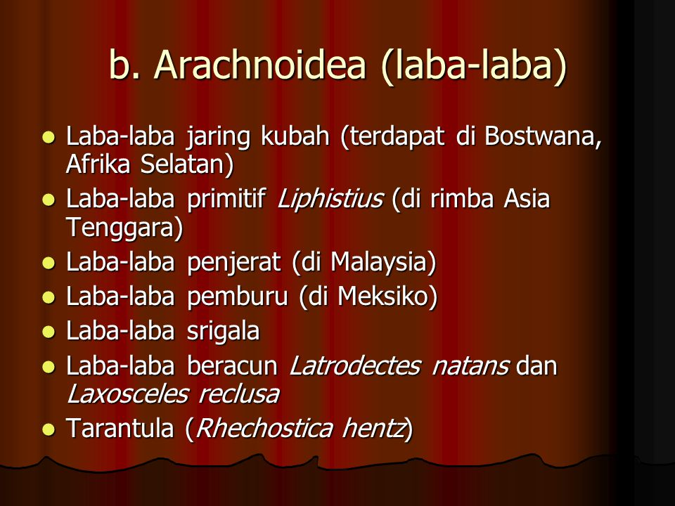 a. Scorpionida (kalajengking) contohnya: - Kalajengking (Vejovis sp, Hadrurus sp, Centrurus sp), Ketonggeng (Buthus) contohnya: - Kalajengking (Vejovi