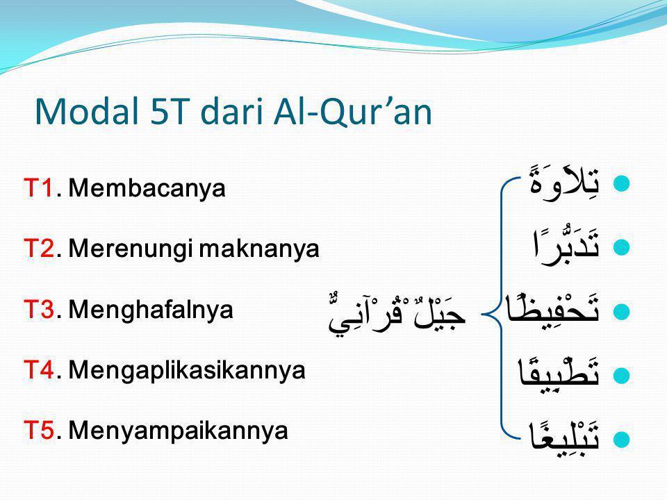 Modal 5T dari Al-Qur'an T1. Membacanya T2. Merenungi maknanya T3. Menghafalnya T4. Mengaplikasikannya T5. Menyampaikannya تِلاَوَةً تَدَبُّرًا تَحْفِي