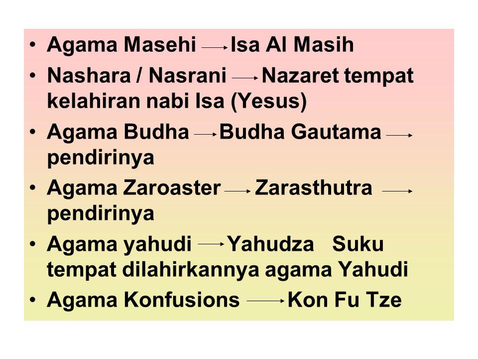 Agama Masehi Isa Al Masih Nashara / Nasrani Nazaret tempat kelahiran nabi Isa (Yesus) Agama Budha Budha Gautama pendirinya Agama Zaroaster Zarasthutra
