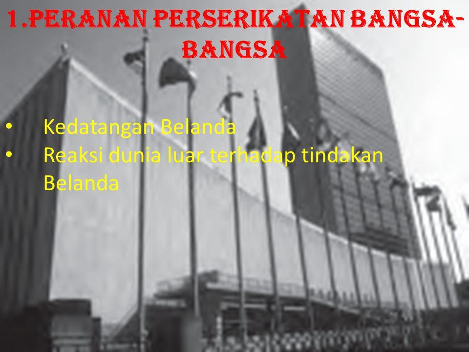 Kedatangan Belanda Reaksi dunia luar terhadap tindakan Belanda 1.Peranan Perserikatan Bangsa- Bangsa