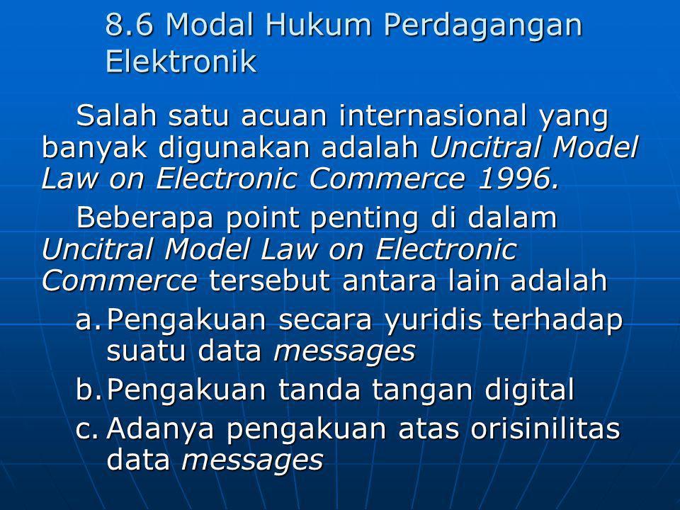 8.6 Modal Hukum Perdagangan Elektronik Salah satu acuan internasional yang banyak digunakan adalah Uncitral Model Law on Electronic Commerce 1996. Beb