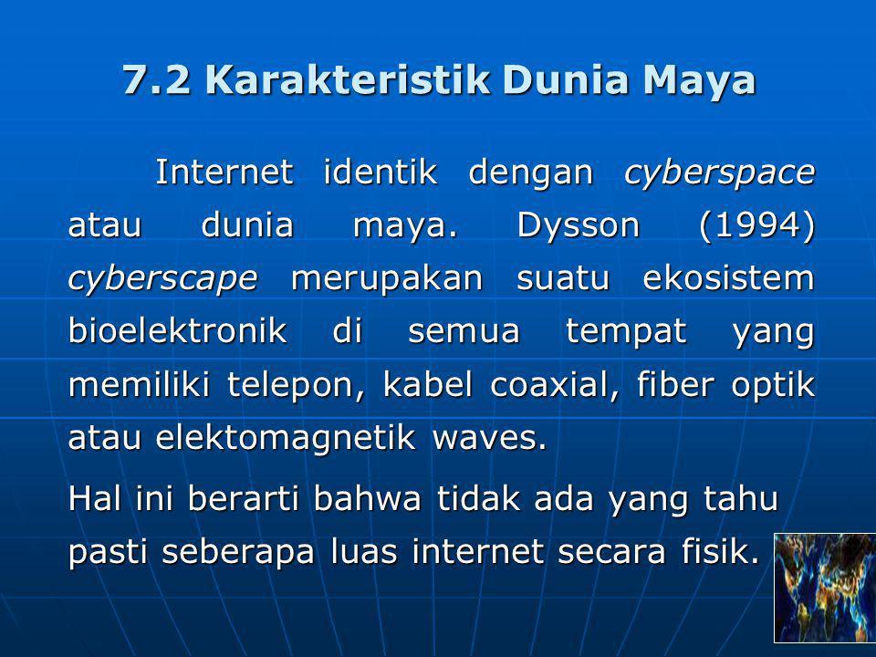 Karakteristik dunia maya (Dysson:1994) sebagai berikut: a.Beroperasi secara virtual/maya b.Dunia cyber selalu berubah dengan cepat c.Dunia maya tidak mengenal batas-batas teritorial d.Orang-orang yang hidup dalam dunia maya tersebut dapat melaksanakan aktivitas tanpa harus menunjukkan identitasnya e.Informasi di dalamnya bersifat publik