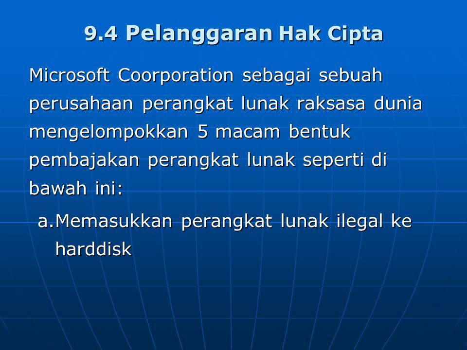 9.4 Pelanggaran Hak Cipta Microsoft Coorporation sebagai sebuah perusahaan perangkat lunak raksasa dunia mengelompokkan 5 macam bentuk pembajakan perangkat lunak seperti di bawah ini: a.Memasukkan perangkat lunak ilegal ke harddisk